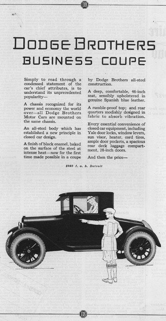 1923 Dodge Brothers Business Coupe advertisement