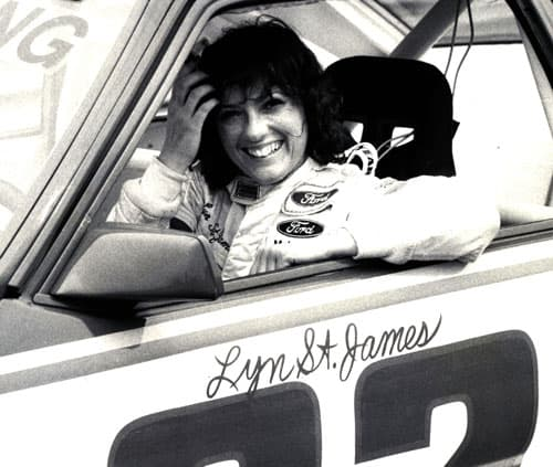 Lyn St. James in her Ford Mustang race car in 1982