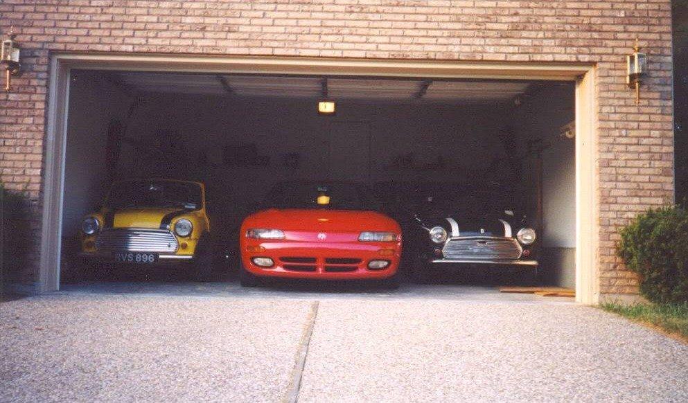 Mini in two-car garage